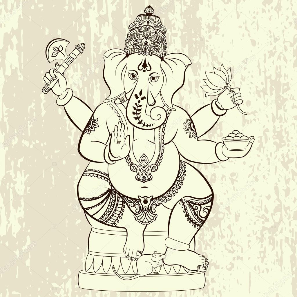Señor hindú Ganesha — Vector de stock © irisimka.yandex.ru #106841698