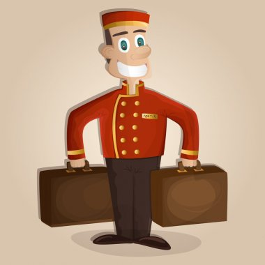 Happy hotel porter with luggage