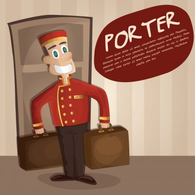 Illustration of happy Bellman (a hotel porter) with luggage in hotel