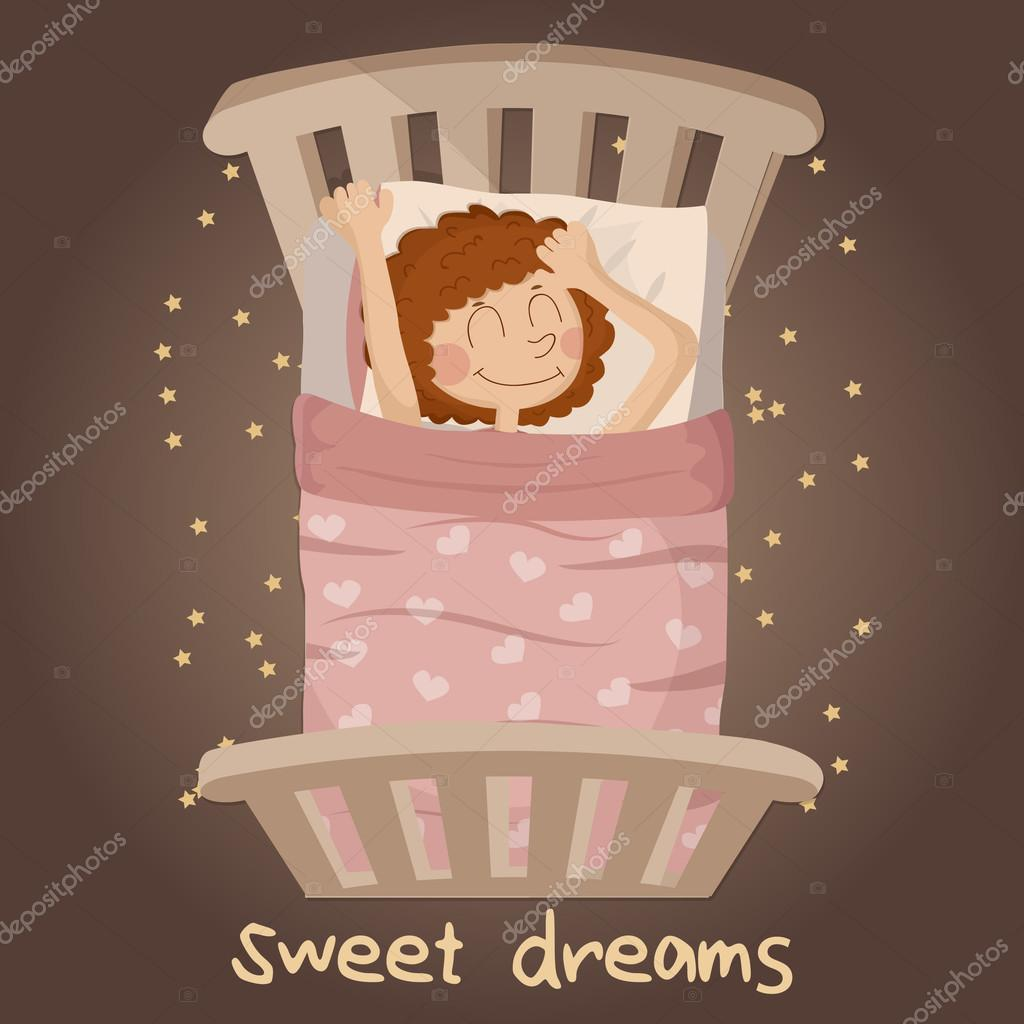 Cute smiling girl with dark red sleeping on a bed with pink blanket