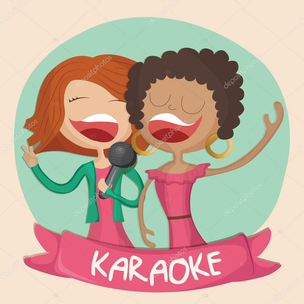 Cartoon illustration of two happy girls singing karaoke