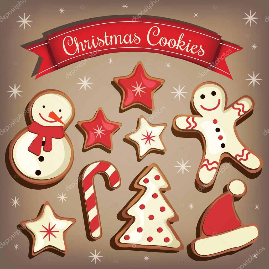 Collection Of Cartoon Christmas Cookies Gingerbread Vector