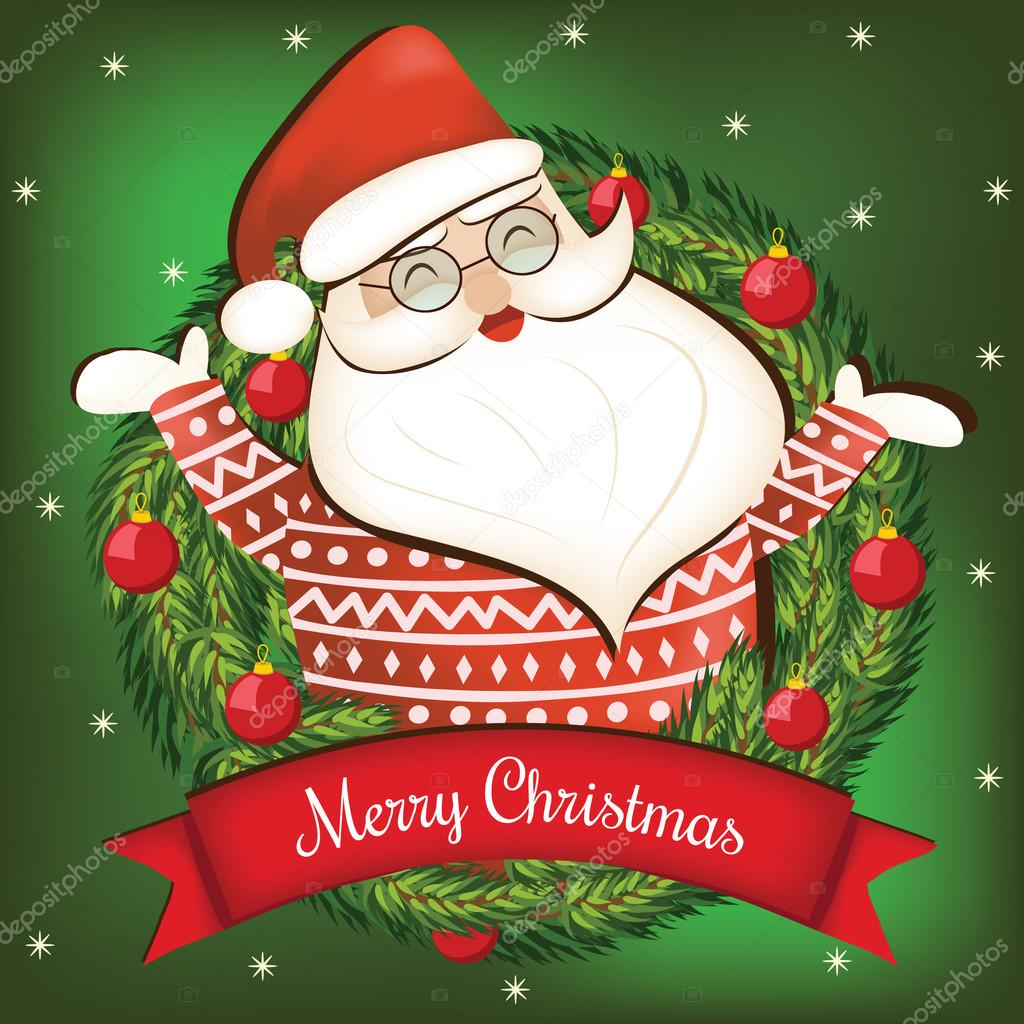 cartoon christmas card with santa claus merry christmas lettering