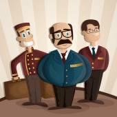 Általános igazgató portás és a recepciós rajzfilm illusztrációja