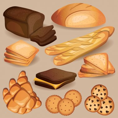 Bread, bakery, pastry sweets set.
