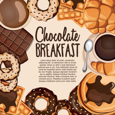 Cartoon sweets banner with belgian waffles, chocolate, coffee, croissant, cappuccino and pancakes.
