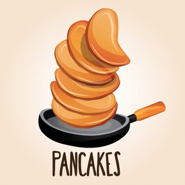 Cartoon pancakes on a pan for breakfast.