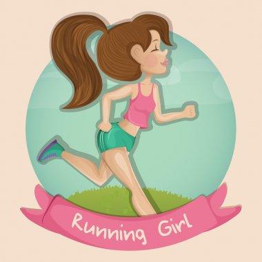 Cartoon illustration of a beautiful girl running outdoors