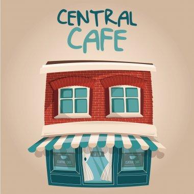 """Картина, постер, плакат, фотообои """"Векторные иллюстрации Симпатичные кафе blue центрального здания"""", артикул 89599078"""