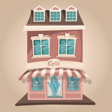 """Картина, постер, плакат, фотообои """"Векторная иллюстрация милый розовый кафе Central здания"""", артикул 89599106"""