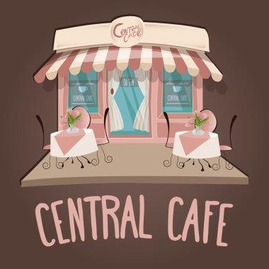 """Картина, постер, плакат, фотообои """"Векторная иллюстрация милый розовый кафе Central здания"""", артикул 89599126"""