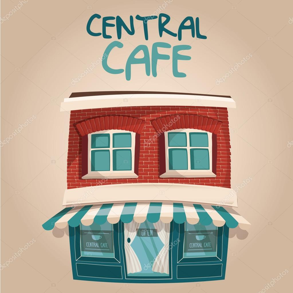 Vector illustration of cute blue Central cafe building