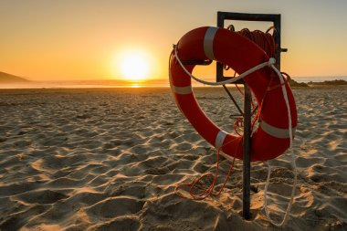 Lifebuoy on beach in Spain