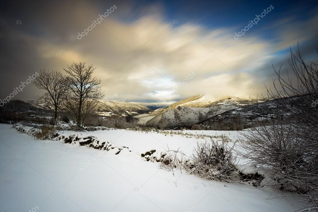 Snow storm at Piornedo, Spain