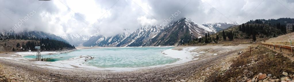 Wide panorama of Big Almaty Lake in Kazakhstan