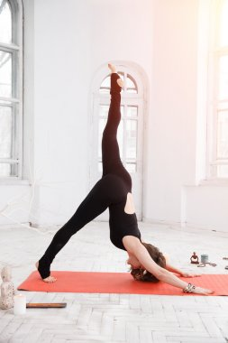 Woman having yoga practice