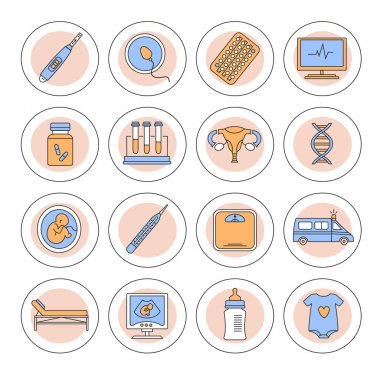 Pregnancy, gynecology, childbirth and motherhood line icons set
