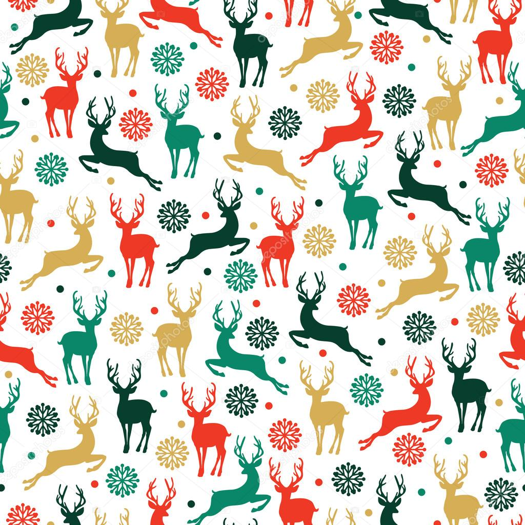 De patrones sin fisuras con ciervos, trineo de renos, árboles de ...