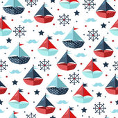 Photo Cute seamless pattern with color paper boats. Vector illustratio
