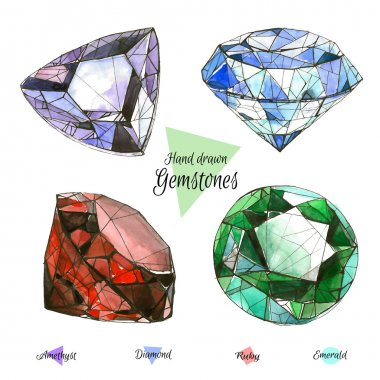 Hand drawn watercolor gemstones