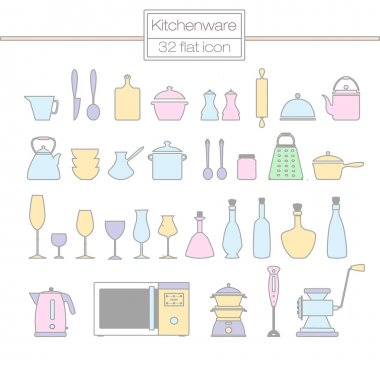 Flat icons. Kitchenware: kettle, pans , rolling pins , cups, gla