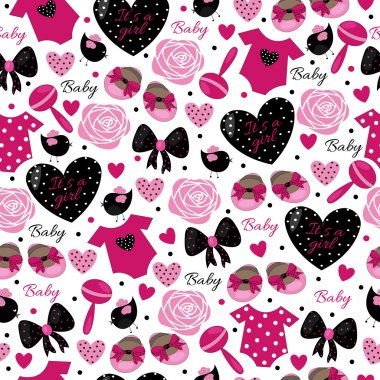 baby girl  cute hot pink pattern