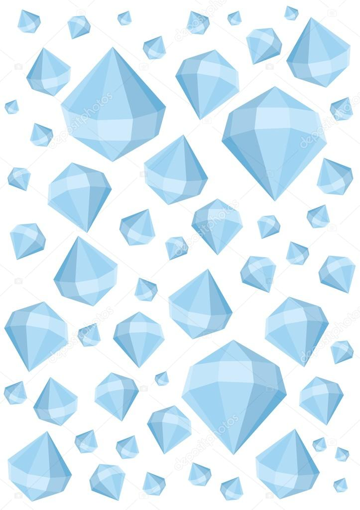 Stones diamonds and crystals large and small, are located on a white background