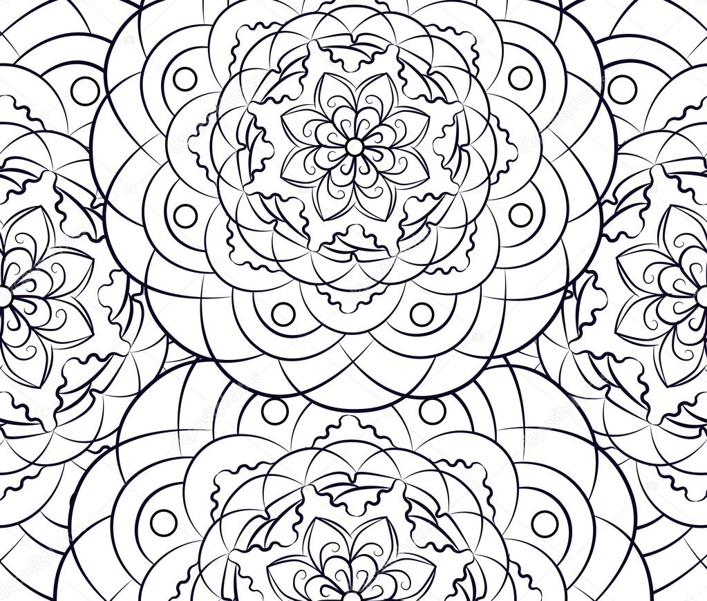 Coloring Pages For Adults And Older Children Painting Mandala Flower Islamic Arabic Indian Black White Vintage Pattern Handmade Decorative