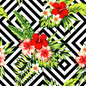 Fotografie hibiscus and palm leaves tropical pattern, black and white geome