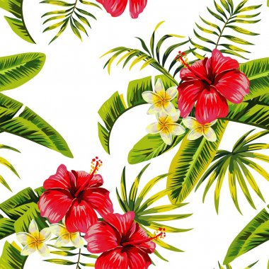 tropical flowers and plants pattern