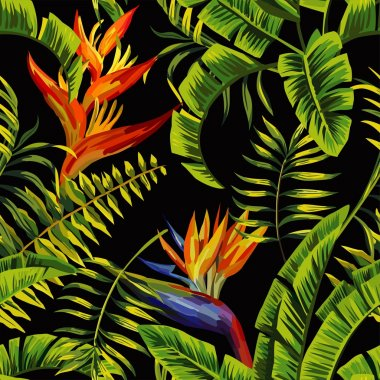 tropical plants painting seamless background