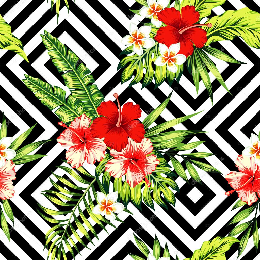 Hibiscus And Palm Leaves Tropical Pattern Black White Geome Stock Vector