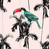 Photo palm trees and toucan seamless background