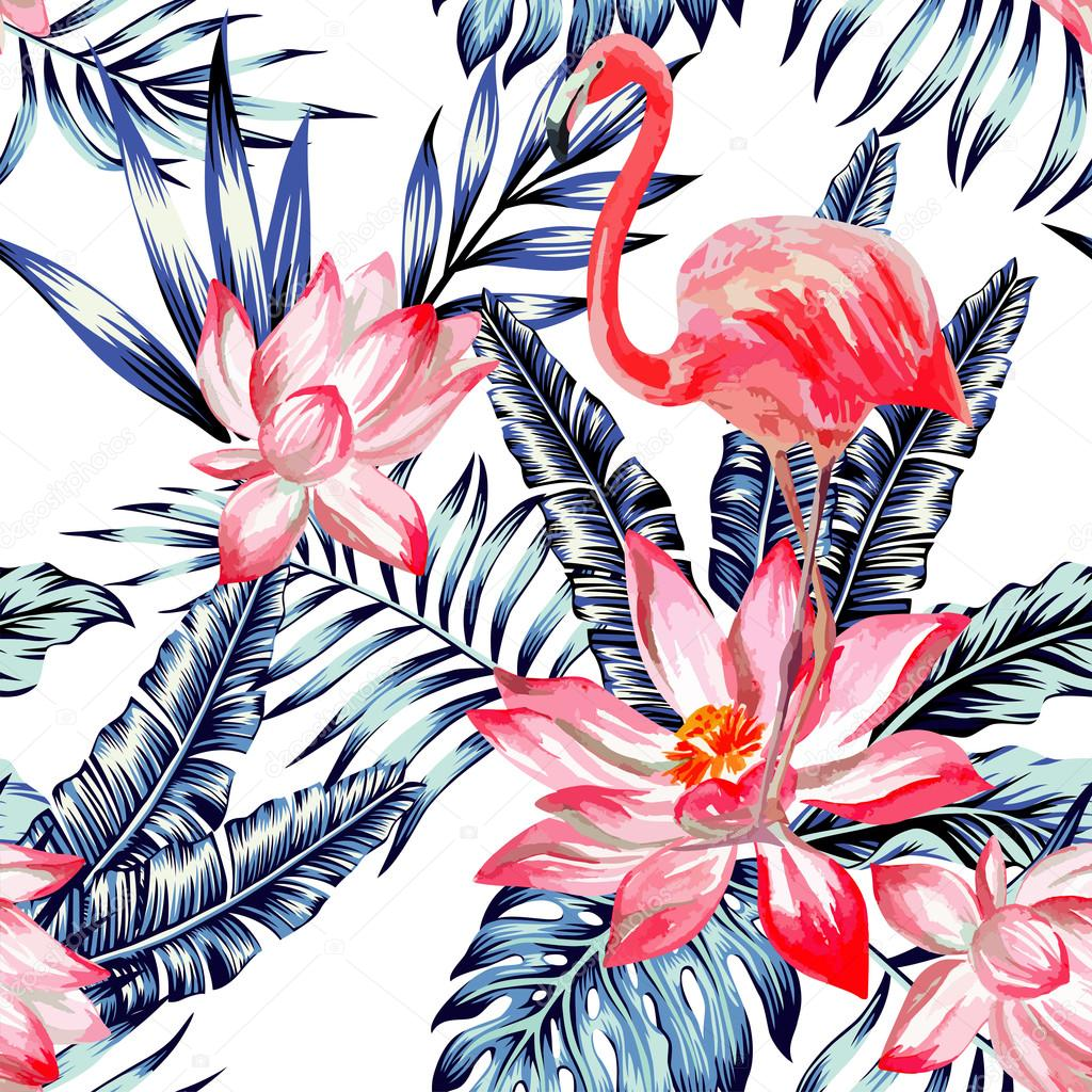 pink watercolor flamingo and blue palm leaves tropical seamless