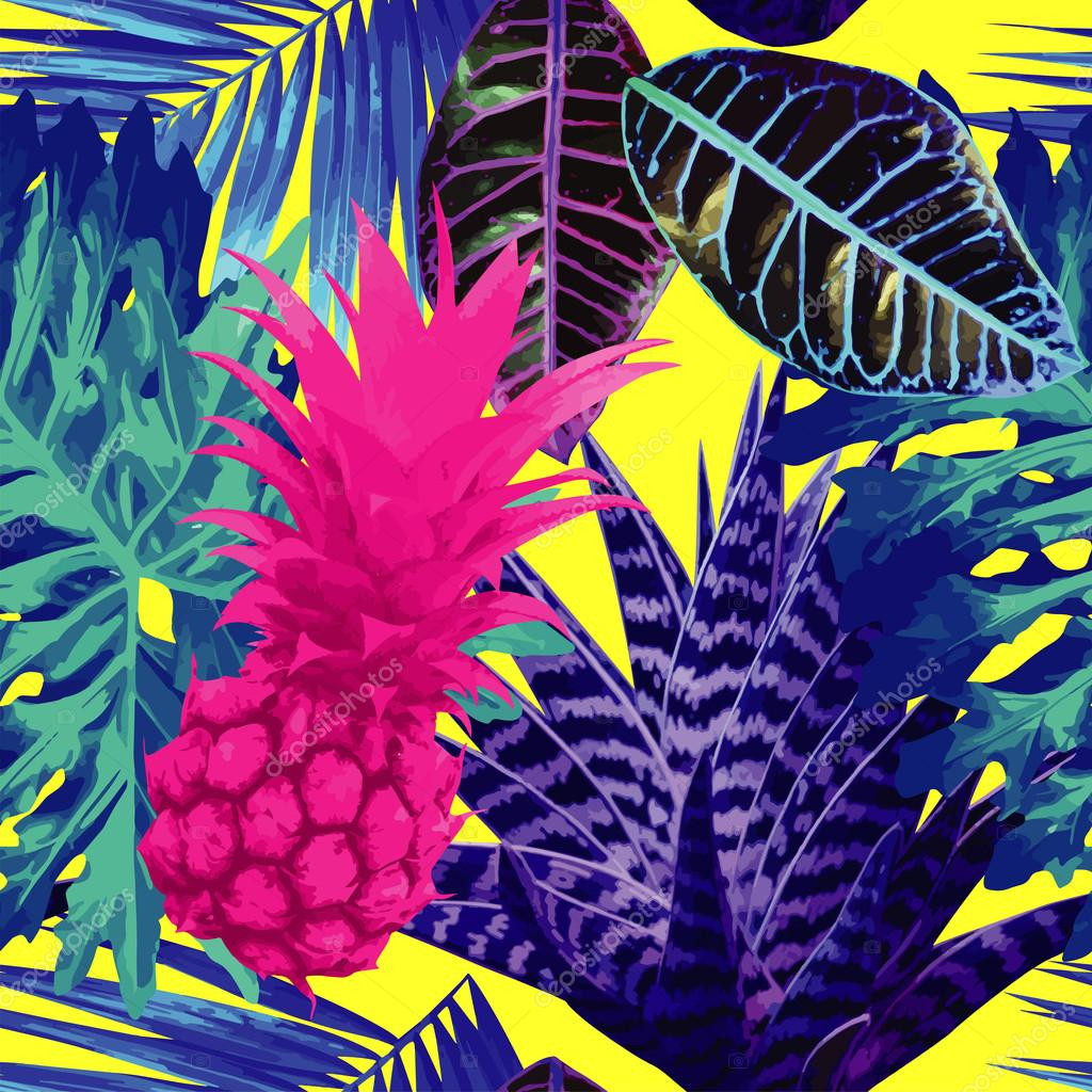 pink pineapple and blue exotic plants seamless background