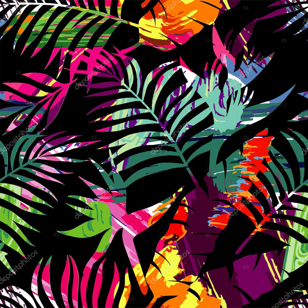 tropical plants silhouette painting brash seamless background