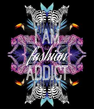 I am fashion addict slogan. Animals and tropical plants trendy mirror print