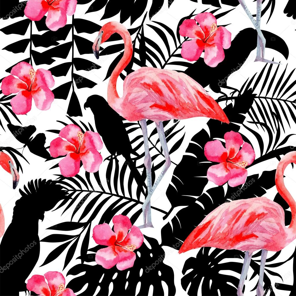 Flamingo and hibiscus watercolor pattern, parrots and tropical plants ...