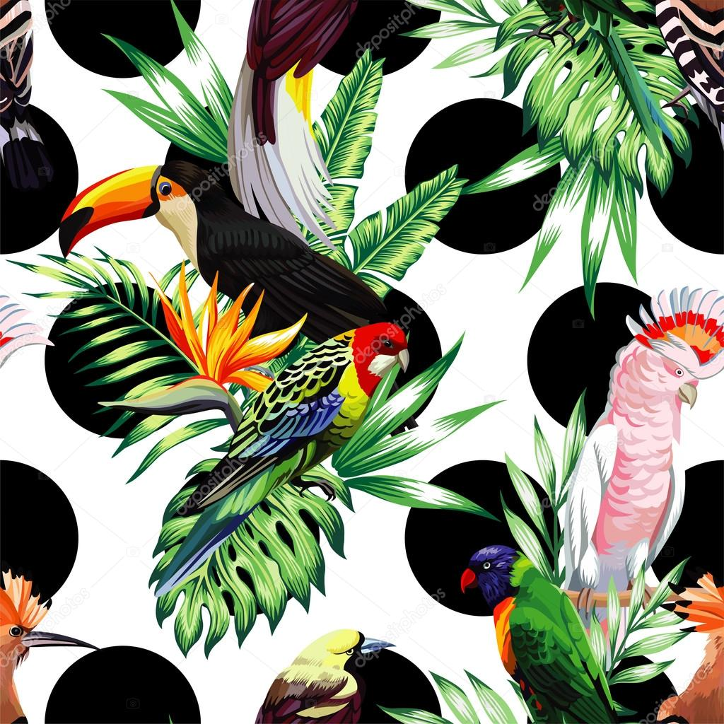 tropical birds and palm leaves pattern, black rounds background