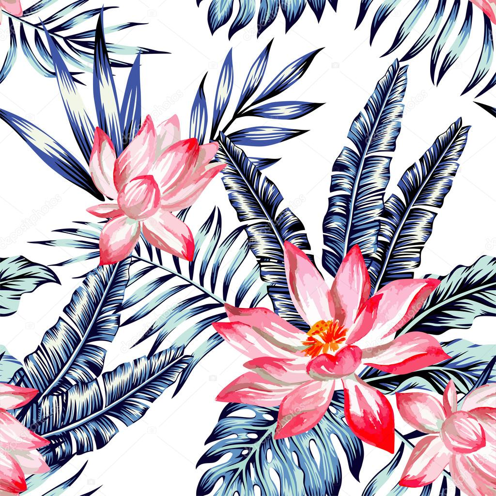 pink lotus and blue palm leaves seamless background