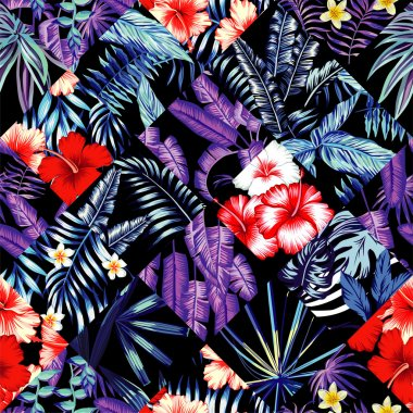 tropical floral patchwork trendy seamless background