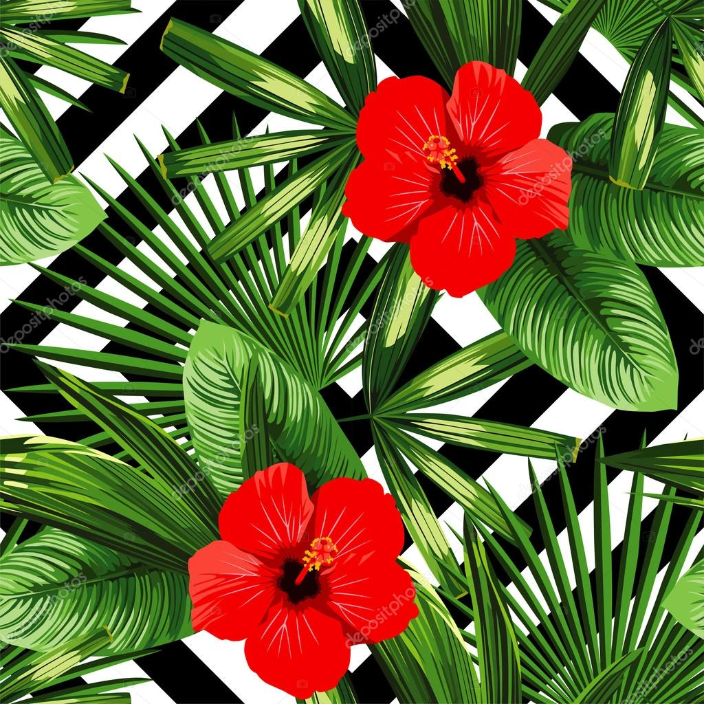 Tropical Flowers And Leaves Pattern Black And White Geometric B