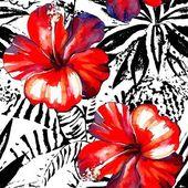trópusi hibiscus akvarell és grafikai egzotikus növények varrat nélküli