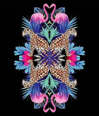 Leopards, flamingo and tropical plants trendy mirror print