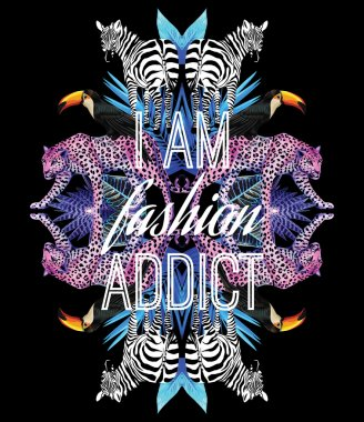 I am fashion addict slogan. Animals and tropical plants trendy mirror print