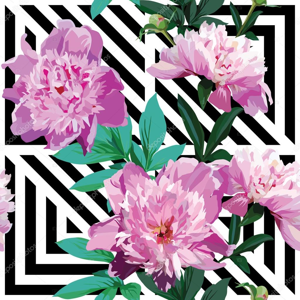 pink peony floral pattern, geometric black and white background