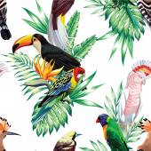 Photo tropical birds and palm leaves seamless background