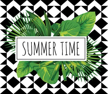 tropical print. Summer time slogan
