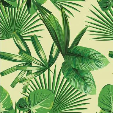 """Картина, постер, плакат, фотообои """"тропические пальмовые листья бесшовный фон """", артикул 89289174"""
