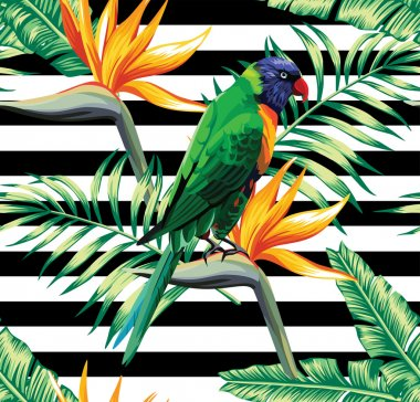 nature, pattern, background, summer, flower, vacation, floral, exotic, wallpaper, plant, leaf, fashion, beach, animal, palm, bird, painting, seamless, tropic, stripes, banana, parrot, jungle, hawaii
